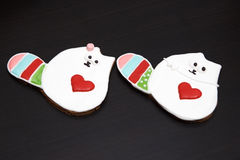 Gingerbread handmade cats Stock Images