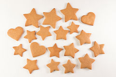 Gingerbread. Handmade cookies  on the white background Royalty Free Stock Photography