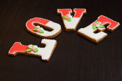 Gingerbread handmade wooden table Royalty Free Stock Photography