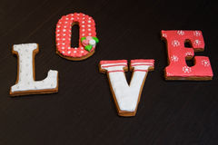 Gingerbread handmade wooden table Stock Photo