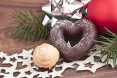 Gingerbread heart. With pine and bulb Royalty Free Stock Images