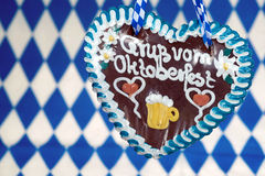 Gingerbread heart and bavarian flag Royalty Free Stock Images