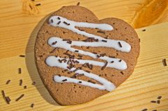 Gingerbread heart with chocolate sprinkles Stock Photos