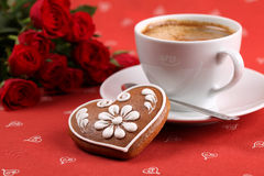 Gingerbread heart and coffee Stock Photo