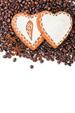 Gingerbread heart on  coffee beans Stock Photo