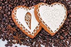 Gingerbread heart on  coffee beans Stock Image