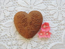 Gingerbread heart cookie Stock Image