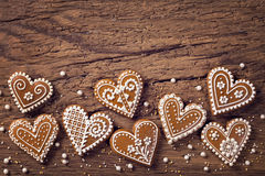 Gingerbread heart cookies Royalty Free Stock Photos