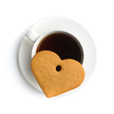 Gingerbread heart and cup of coffee. Stock Photos