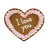 Gingerbread heart i love you typography royalty free illustration