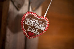 Gingerbread heart I love you Royalty Free Stock Photos