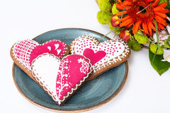 Gingerbread Heart with icing to Valentinov day Royalty Free Stock Photos