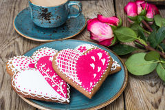 Gingerbread Heart with icing to Valentinov day Royalty Free Stock Photography