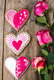 Gingerbread Heart with icing to Valentinov day Royalty Free Stock Images