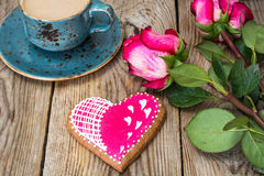 Gingerbread Heart with icing to Valentinov day Royalty Free Stock Photo