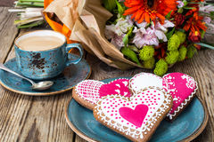 Gingerbread Heart with icing to Valentinov day Stock Image