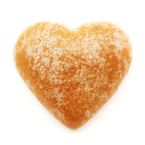 Gingerbread heart isolated on white stock photography