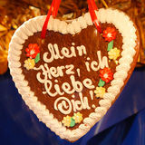 Gingerbread Heart (Lebkuchenherz) 'I Love You' Royalty Free Stock Image