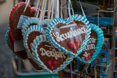 """Gingerbread heart. From Munich with words """"Lausbua"""" and """"Deiferl"""", meaning """"scallywag"""" and """"imp Royalty Free Stock Photos"""