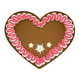 Gingerbread heart red white with edelweiss decoration royalty free illustration