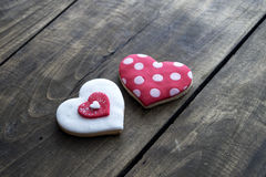 Gingerbread heart  on rustic wooden background. Stock Photography