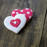 Gingerbread heart  on rustic wooden background. Stock Photos