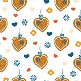 Gingerbread heart seamless pattern for Oktoberfest vector illustration