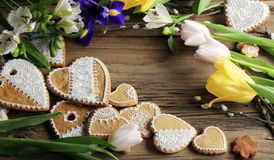 Gingerbread heart-shaped Stock Images