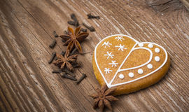 Gingerbread heart with spices Royalty Free Stock Image