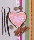 Gingerbread heart with spicies Royalty Free Stock Image
