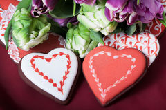 Gingerbread heart and tulips Royalty Free Stock Photos