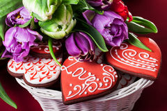 Gingerbread heart and tulips Royalty Free Stock Images