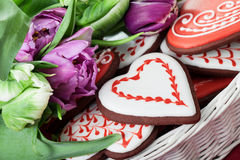 Gingerbread heart and tulips Royalty Free Stock Photo