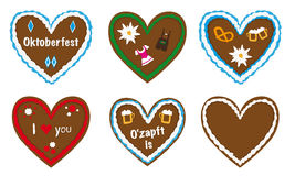 Gingerbread heart vector collection, bavarian oktoberfest gift, Royalty Free Stock Images