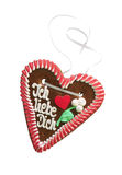 Gingerbread heart on white Stock Photos