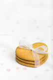Gingerbread hearts. Tied with white organza ribbon Royalty Free Stock Images