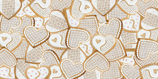 Gingerbread hearts background Royalty Free Stock Photos