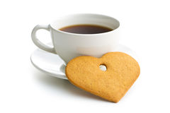 Gingerbread hearts and cup of coffee. Stock Photos