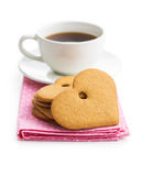 Gingerbread hearts and cup of coffee. Royalty Free Stock Images