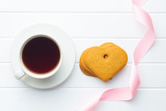 Gingerbread hearts and cup of coffee. Royalty Free Stock Image