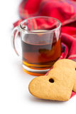 Gingerbread hearts and cup of tea. Stock Photo