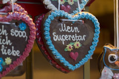 Gingerbread Hearts on german christmas market Royalty Free Stock Photography
