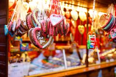 Gingerbread Hearts at German Christmas Market. Nuremberg, Munich, Berlin, Hamburg xmas market in Germany. On traditional royalty free stock photo