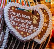 Gingerbread Hearts German `Gruß vom Nürnberger Christkindlesmarkt` royalty free stock photos