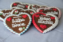 Gingerbread hearts Stock Photos