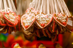 Gingerbread Hearts at Nuremberg Christmas Market stock photos