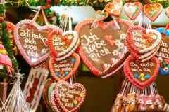 Gingerbread Hearts at Nuremberg Christmas Market. Gingerbread Hearts at German Christmas Market. Nuremberg, Munich, Fulda xmas market in Germany Stock Photo