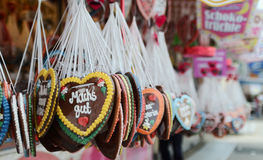 Gingerbread hearts at the Oktoberfest. Stock Images