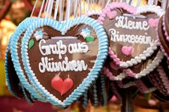 Oktoberfest hearts. Gingerbread hearts at Oktoberfest in Munich, Germany stock images