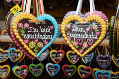 Gingerbread hearts on Oktoberfest Royalty Free Stock Photo